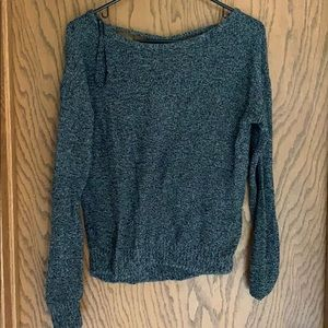Grey sweater with cross detail on back